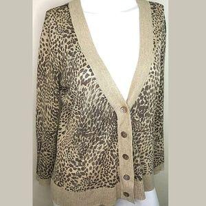 Talbots Leopard print Cashmere blend cardigan M